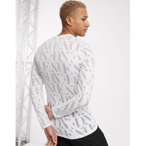 ASOS EDITION logo print skinny long sleeve t-shirt-White  - White - Size: Medium