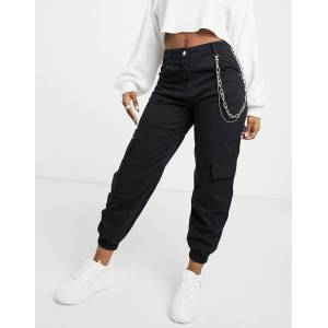 Bershka canvas utility cargo trouser with chain in black  - Black - Size: 40