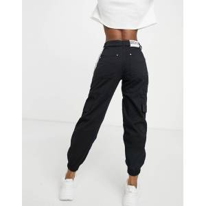 Bershka canvas utility cargo trouser with chain in black  - Black - Size: 36