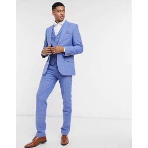 Harry Brown blue linen checked slim fit suit trousers  - Blue - Size: W44in L32in