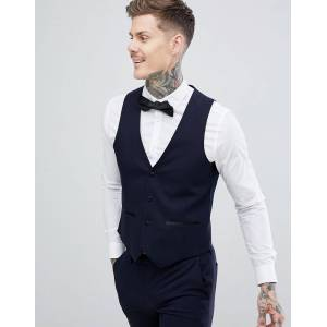 Harry Brown Slim 50% Wool Split Lapel Navy Dinner Waistcoat  - Navy - Size: Chest 42in