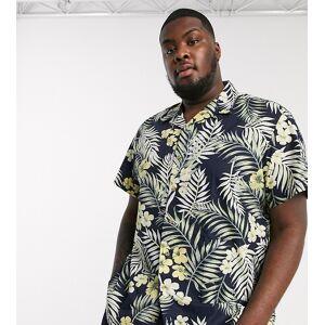 Jack & Jones Originals Plus revere collar Hawaiian print short sleeve shirt in navy  - Navy - Size: 5X-Large