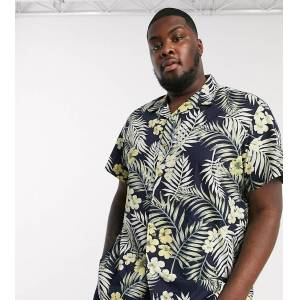 Jack & Jones Originals Plus revere collar Hawaiian print short sleeve shirt in navy  - Navy - Size: 5X-Large