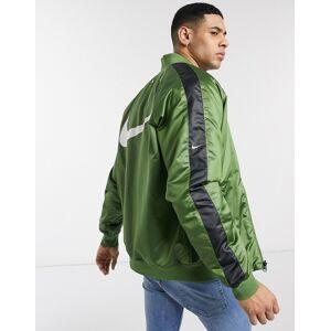 Nike Swoosh reversible bomber jacket in green/black  - 26101183685 - Size: Large
