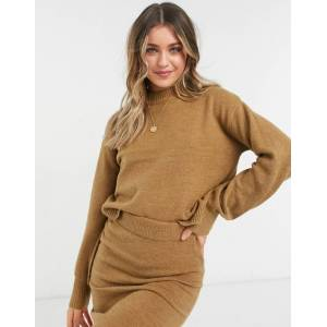 Pieces soft touch loungewear high neck knit jumper co ord in brown  - Brown - Size: Medium