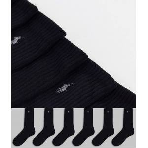 Polo Ralph Lauren 6 pack sport socks in black with pony logo  - Black - Size: No Size