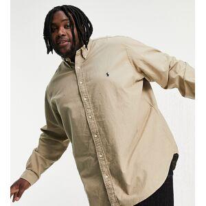 Polo Ralph Lauren Big & Tall garment dyed player logo oxford shirt custom regular fit in tan-Brown  - Brown - Size: 3X-Large