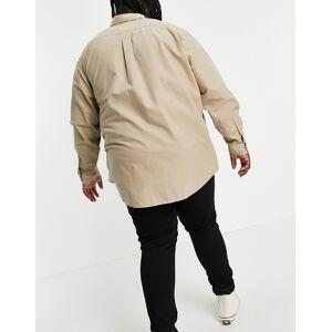 Polo Ralph Lauren Big & Tall garment dyed player logo oxford shirt custom regular fit in tan-Brown  - Brown - Size: 5X-Large