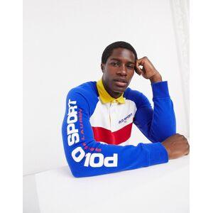 Polo Ralph Lauren flag sport logo chest pique insert rugby sweatshirt in white/blue  - White - Size: Medium