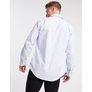 Polo Ralph Lauren player script logo stripe regular fit oxford shirt estate collar in white/blue  - White - Size: Medium