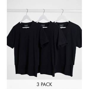 Selected Homme 3 pack crew neck t-shirt in black  - Black - Size: Medium