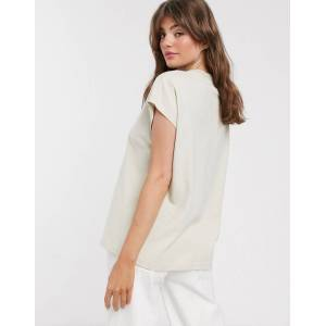 Weekday Prime organic cotton boxy straight fit crew neck t-shirt in beige-Neutral  - Neutral - Size: Medium