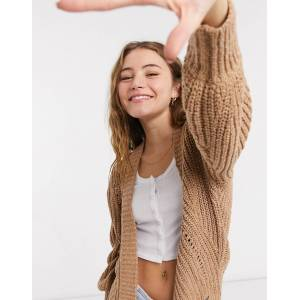 Abercrombie & Fitch puff sleeve cardigan in brown  - Brown - Size: Medium