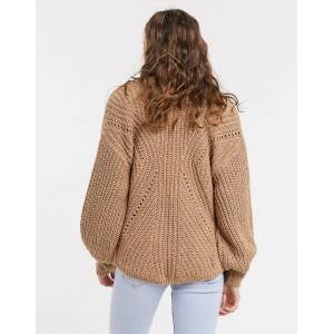 Abercrombie & Fitch puff sleeve cardigan in brown  - Brown - Size: Extra Large