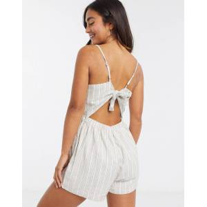 Abercrombie & Fitch tie back detail playsuit in tan stripe-Multi  - Multi - Size: Extra Large