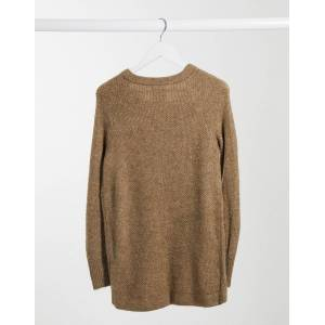 Abercrombie & Fitch zip neck knitted sweater in oatmeal-Brown  - Brown - Size: Extra Small