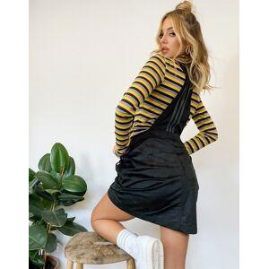 adidas Originals 'Comfy Cords' velvet corduroy dungaree mini dress in black  - Black - Size: 6