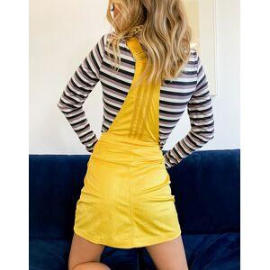 adidas Originals 'Comfy Cords' velvet corduroy dungaree mini dress in mustard-Yellow  - Yellow - Size: 6