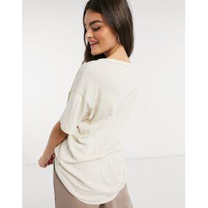 Aerie oversized scoop neck t-shirt in ecru-Beige  - Beige - Size: Extra Small