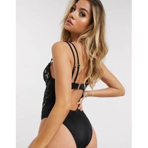 Ann Summers cupped lace swimsuit with mesh inserts in black B/C - G/H  - Black - Size: 22 G-H