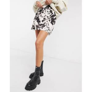 Another Reason a-line mini skirt in cow print-Brown  - Brown - Size: 6