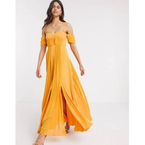 ASOS DESIGN cup detail bardot detail chiffon overlay pleated maxi dress in golden yellow-Multi  - Multi - Size: 4
