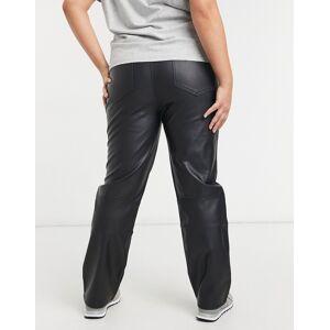 ASOS Curve ASOS DESIGN Curve mid rise '90's' straight leg in black PU  - Black - Size: 22