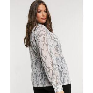 ASOS Curve ASOS DESIGN Curve oversize mesh button shirt in snake animal print-Multi  - Multi - Size: 24