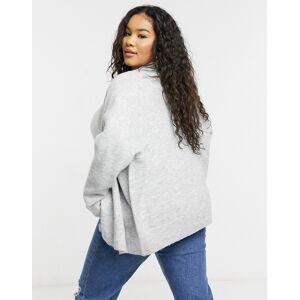 ASOS Curve ASOS DESIGN Curve oversized fluffy cardigan in grey marl  - Grey - Size: 18