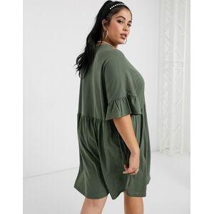 ASOS Curve ASOS DESIGN Curve super oversized frill sleeve smock in khaki-Green  - Green - Size: 18