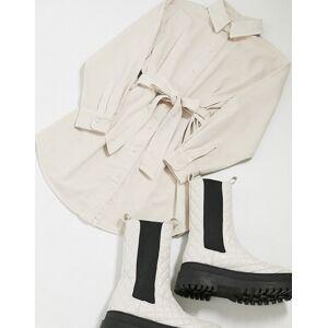 ASOS DESIGN Denim oversized belted shirt dress in buttermilk-Cream  - Cream - Size: 18