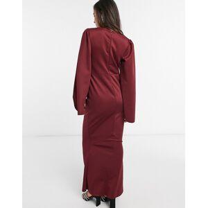 ASOS DESIGN fluted long sleeve maxi dress in mink-Pink  - Pink - Size: 4