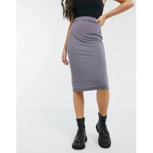 ASOS DESIGN jersey midi pencil skirt in charcoal-Grey  - Grey - Size: 18