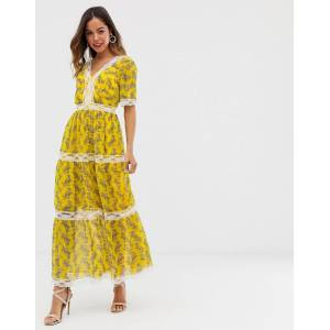 ASOS DESIGN lace insert tiered maxi dress in paisley print-Multi  - 24959066167 - Size: 4