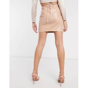 ASOS DESIGN leather look seamed super mini skirt in light camel-Brown  - Brown - Size: 18