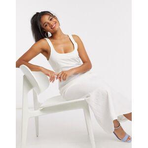 ASOS DESIGN linen cami maxi dress in white  - White - Size: 18