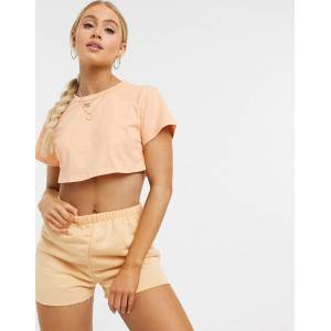 ASOS DESIGN lounge co-ord jogger short in washed peach-Pink  - Pink - Size: 18
