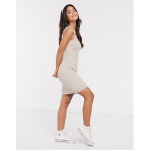 ASOS DESIGN mini fluffy dress in beige  - Beige - Size: 18