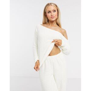 ASOS DESIGN mix & match lounge fluffy off shoulder sweat in cream-Beige  - Beige - Size: 18