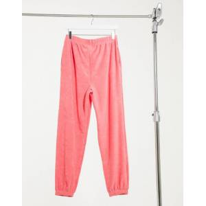 ASOS DESIGN mix & match lounge towelling jogger in pink  - Pink - Size: 18