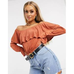 ASOS DESIGN off shoulder ruffle bodysuit in rust-Orange  - Orange - Size: 6