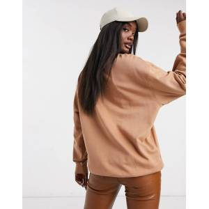 ASOS DESIGN organic cotton oversized sweatshirt in sand-Beige  - Beige - Size: 18
