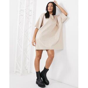 ASOS DESIGN oversized leather look t-shirt dress in cream-Beige  - Beige - Size: 18