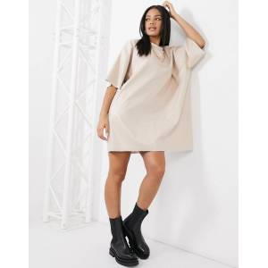 ASOS DESIGN oversized leather look t-shirt dress in cream-Beige  - Beige - Size: 18