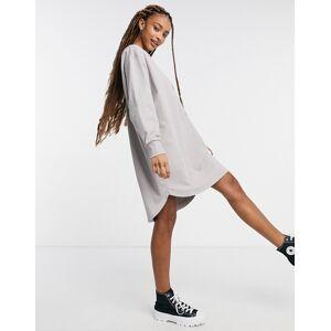 ASOS DESIGN oversized smock back sweat dress in light grey-Brown  - Brown - Size: 18