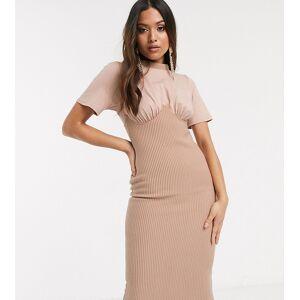 ASOS Petite ASOS DESIGN Petite rib corset midi t-shirt dress in mink-Beige  - Beige - Size: 12