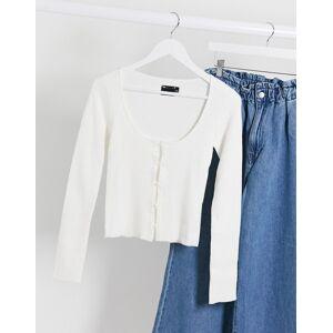 ASOS DESIGN ribbed knit button through cardi top-Cream  - Cream - Size: 18