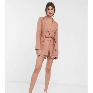 ASOS Tall ASOS DESIGN Tall splendid linen suit blazer-Brown  - Brown - Size: 12