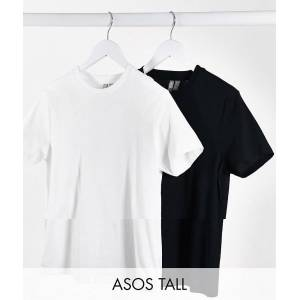 ASOS Tall ASOS DESIGN Tall ultimate organic cotton t-shirt with crew neck 2 pack SAVE-Multi  - Multi - Size: 18