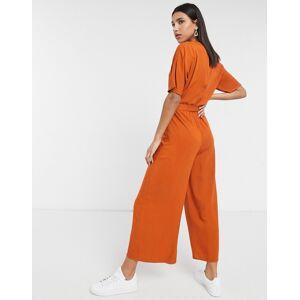 ASOS DESIGN tie waist jumpsuit in rust-Brown  - Brown - Size: 18